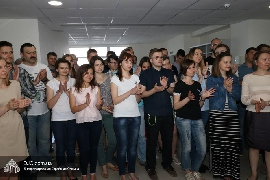 """Chanukat Habayit  at the new office for """"Education and employment"""" program's graduates"""